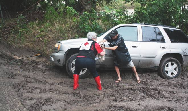 Red Cross volunteer Michele Maki helps rescue Zhu Zhu after the owner's vehicle slid into a ditch and flash floods threatened the area.