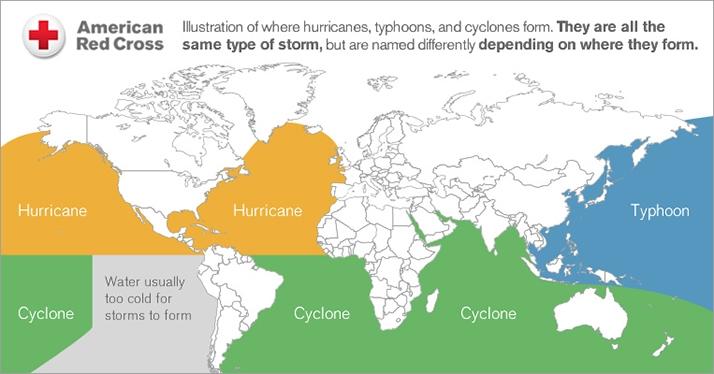 Hurricanes World Map.Hurricane Vs Typhoon American Red Cross