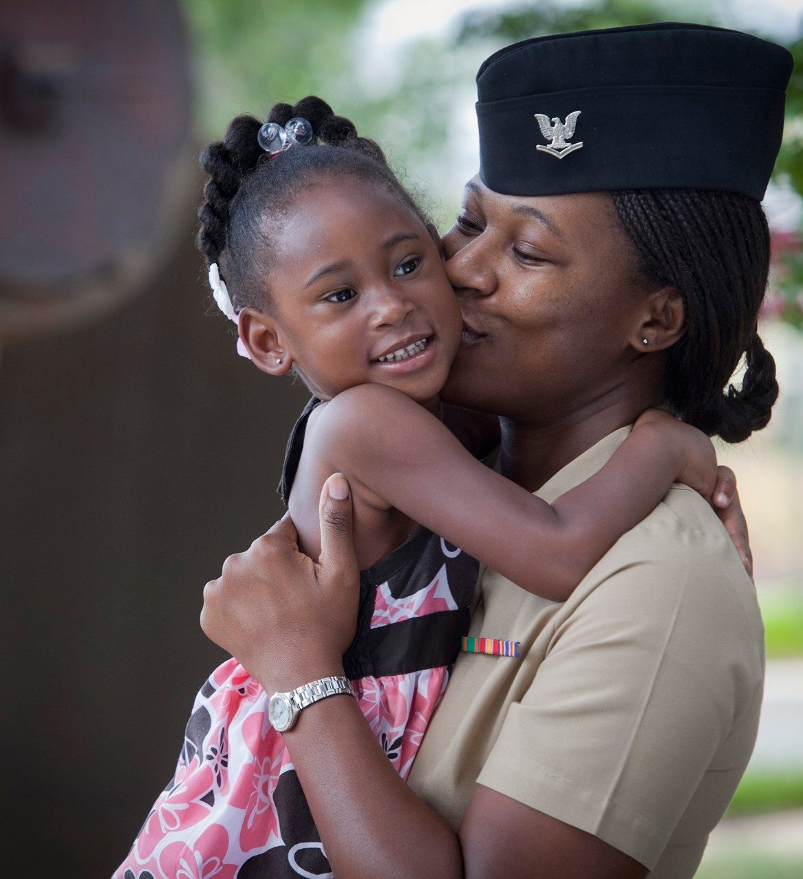 service member with daughter