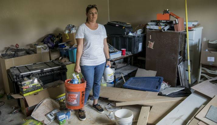 Amber Atkins at her house that was flooded during Hurricane Harvey, in Dickinson, TX.