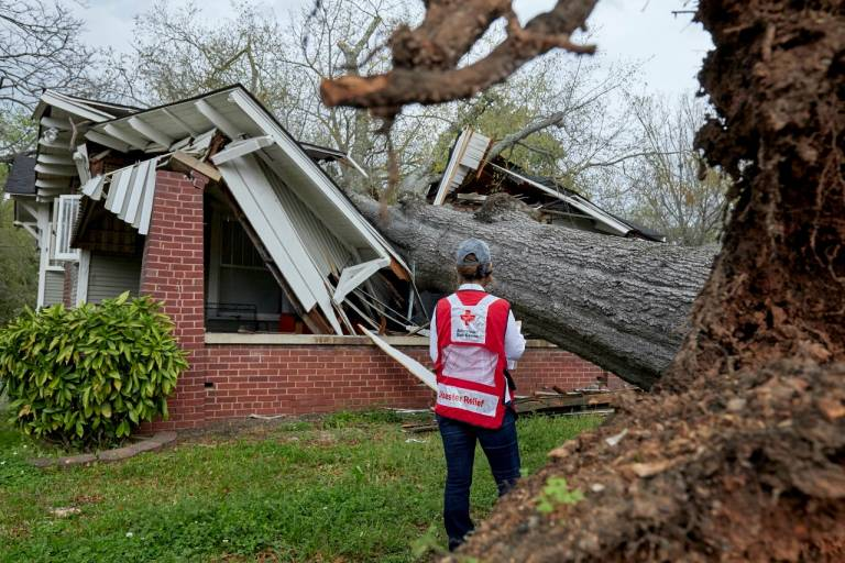 Red Cross disaster workers are helping with damage assessment after the tornadoes that hit near Birmingham, AL.