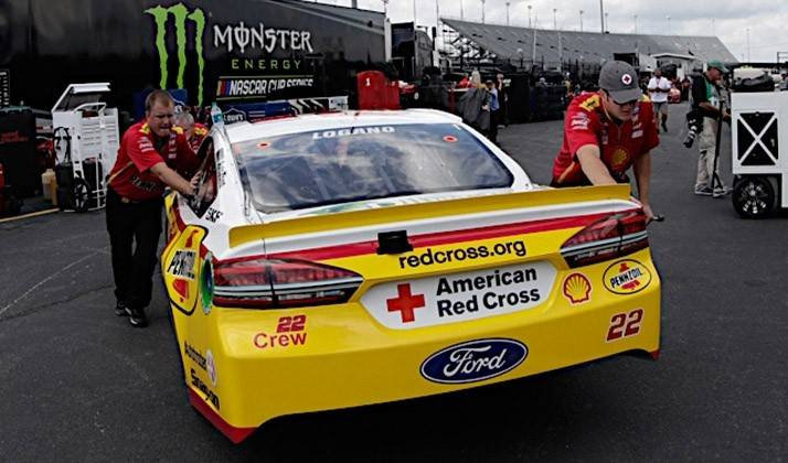 Joey Logan's car with Americna Red Cross logos and website