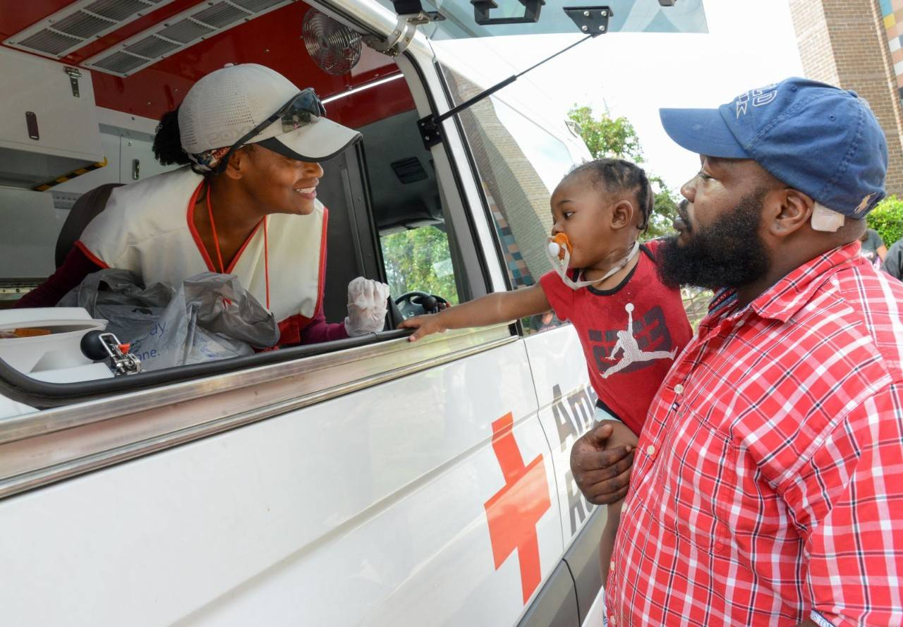 September 25, 2018. Red Cross Shelter, Smith Recreational Center, Fayetteville. This family is still staying in Red Cross shelters two weeks after the hurricane hit their home in Fayetteville, North Carolina. They thanked the Red Cross for helping them in this time of need. Photo by Daniel Cima/American Red Cross