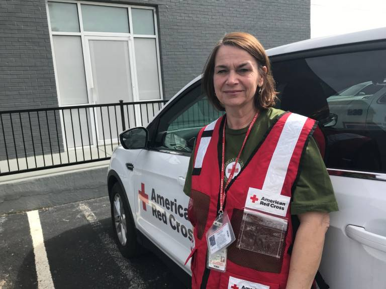 Volunteer Jennifer Ryan is helping with the tornado response in her home county. She said many of her neighbors are facing heartbreaking situations. Red Cross photo by Ashley Henyan