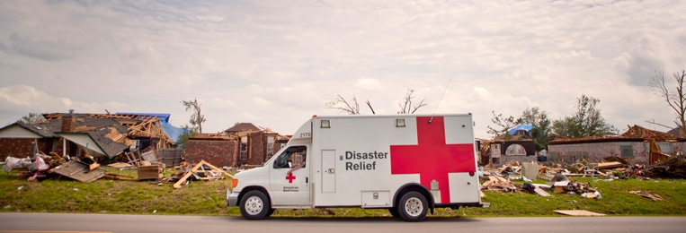Red Cross Emergency Response Vehicle responding to a Tornado
