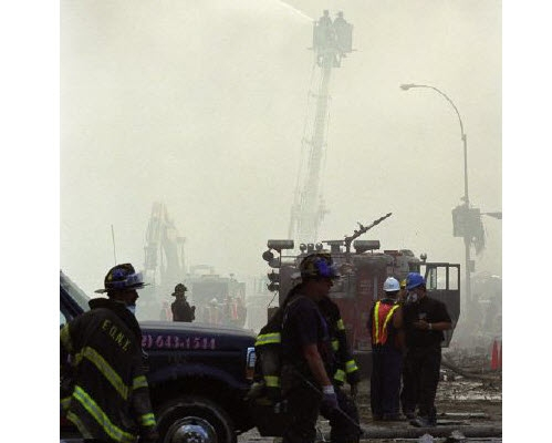 image of firefighters in New York City after 911