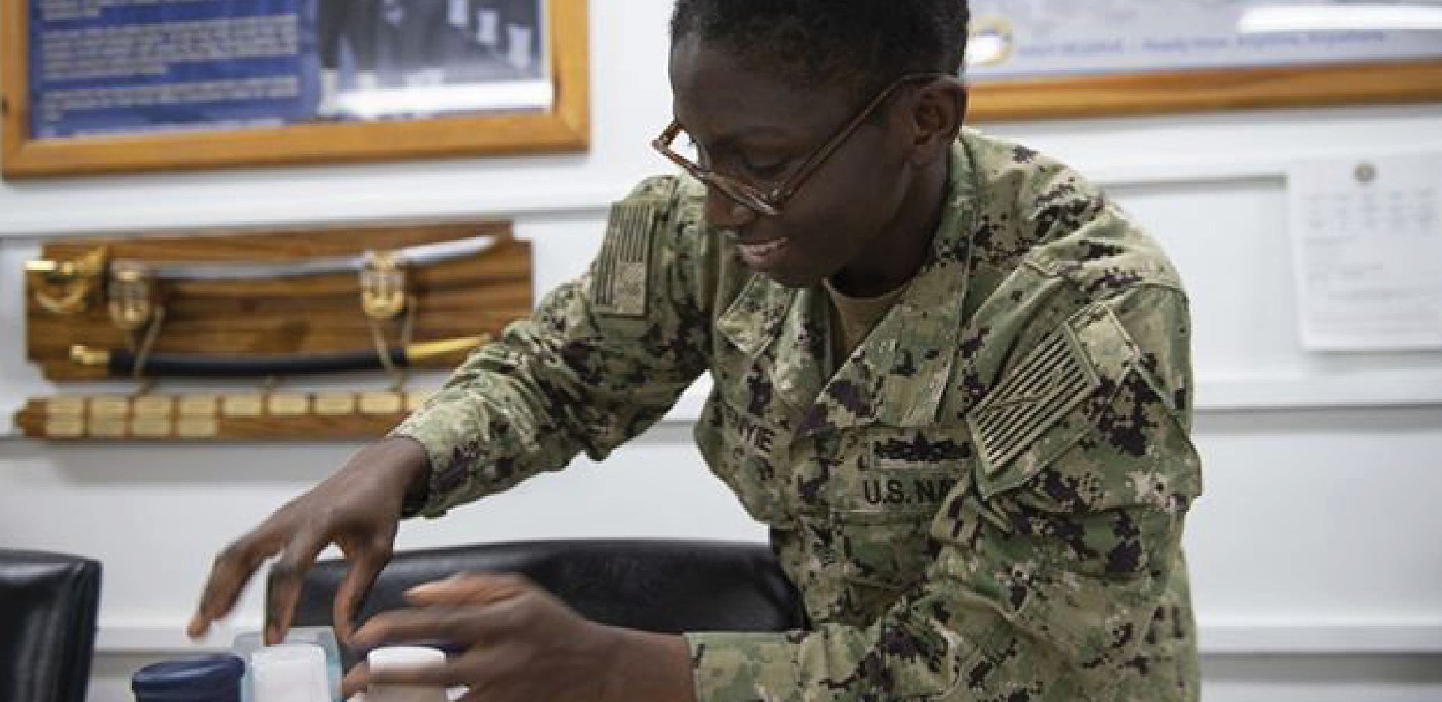 Our Red Cross team delivered personal care and hygiene products to U.S. female sailors aboard ships in Djibouti, Africa.