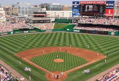 Page header with image of Washington DC Nationals baseball stadium