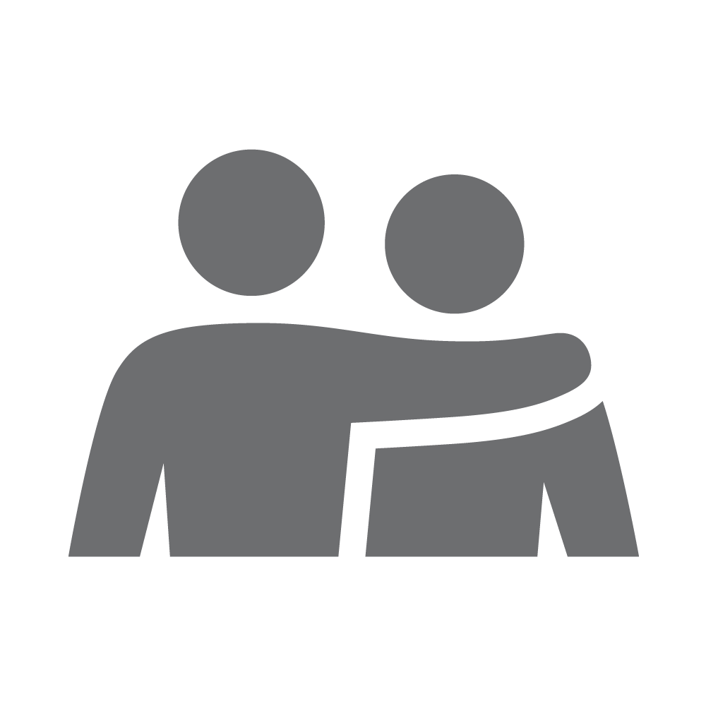 Arm around person icon