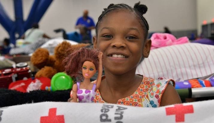 9 year old Ty'Vise, a Houston evacuee, plays at a Red Cross shelter