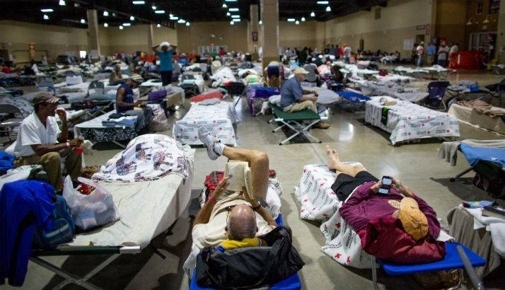 Description:September 14, 2017. Red Cross shelter, Miami-Dade County Fairgrounds, Miami, Florida.
