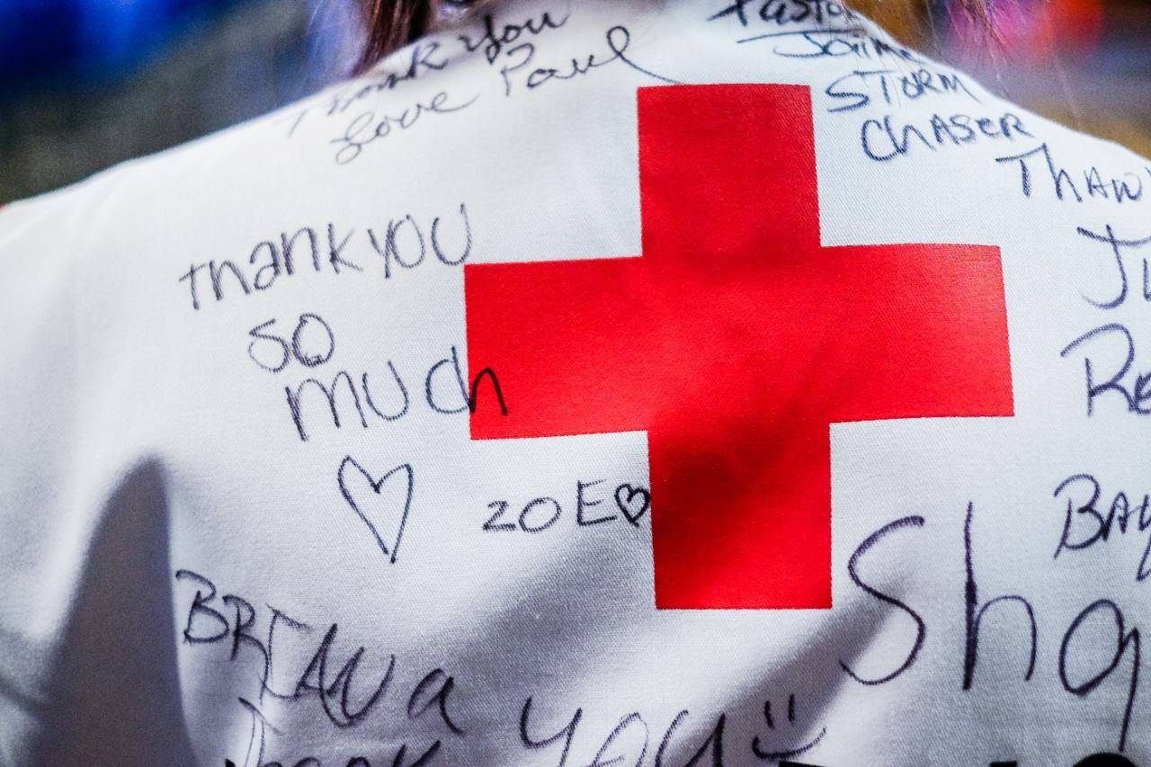 American Red Cross volunteer vest with thank you notes written on it