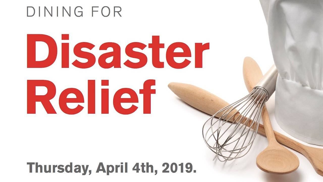 Dining for Disaster Relief header with images of cooking utensils