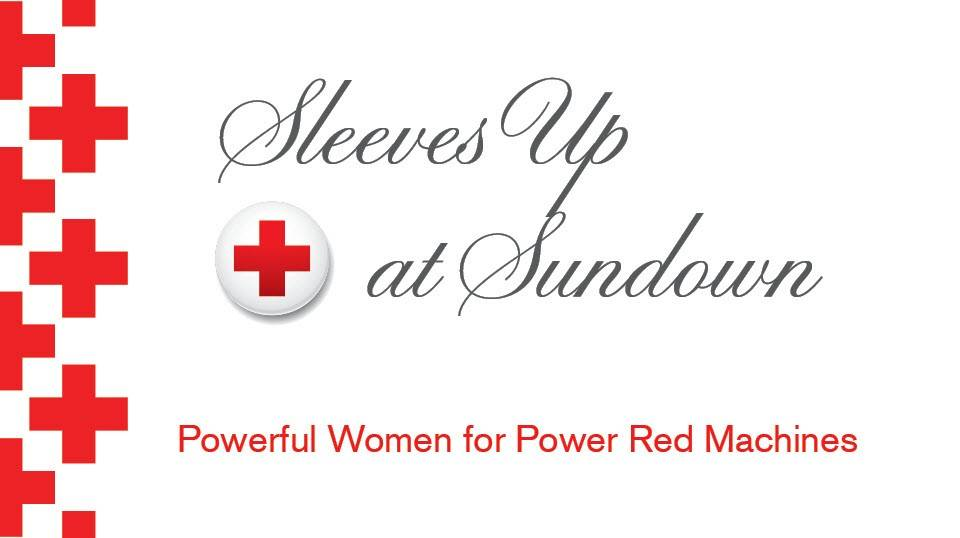 Red text on a white background that says Sleeves Up at Sundown