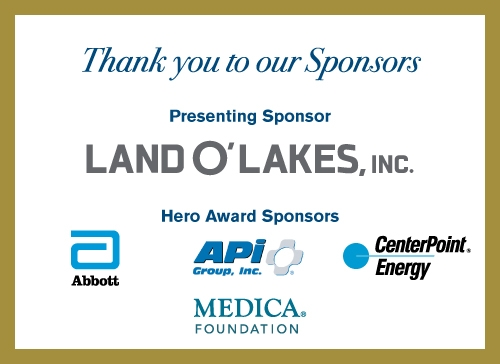 Minnesota Red Cross Heroes Sponsors listing of companies - Land O Lakes, API Group, Center Point Energy, Abbots, Medica Foundation