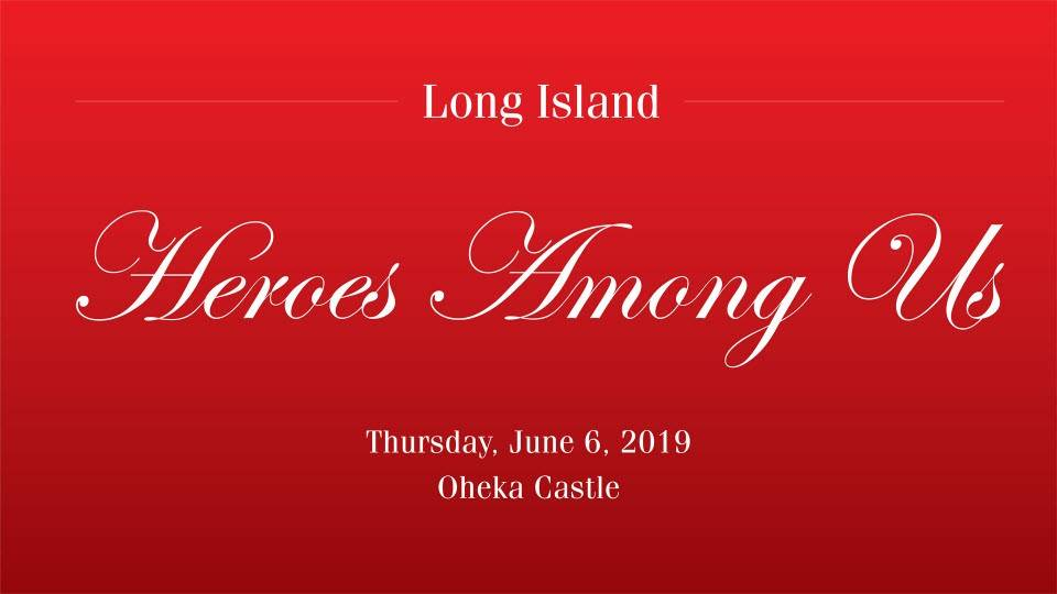 Red background that says Long Island Heroes Among Us