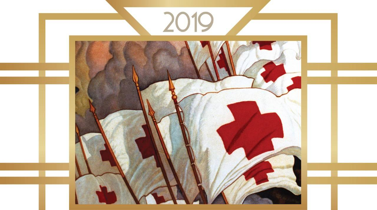 Red Cross Ball header image - old fashioned Red Cross flags - white with red emblem -