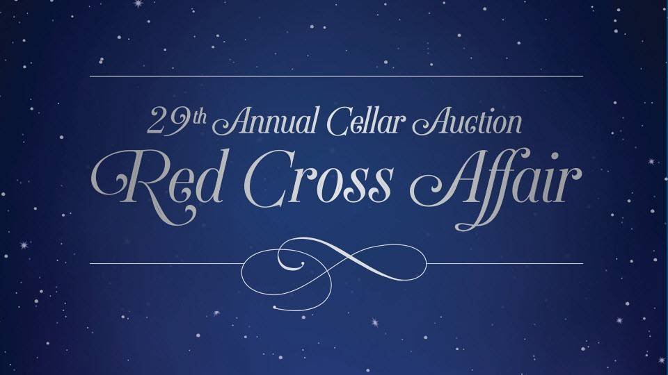 blue background with white script text advertising Red Cross Affair auction event