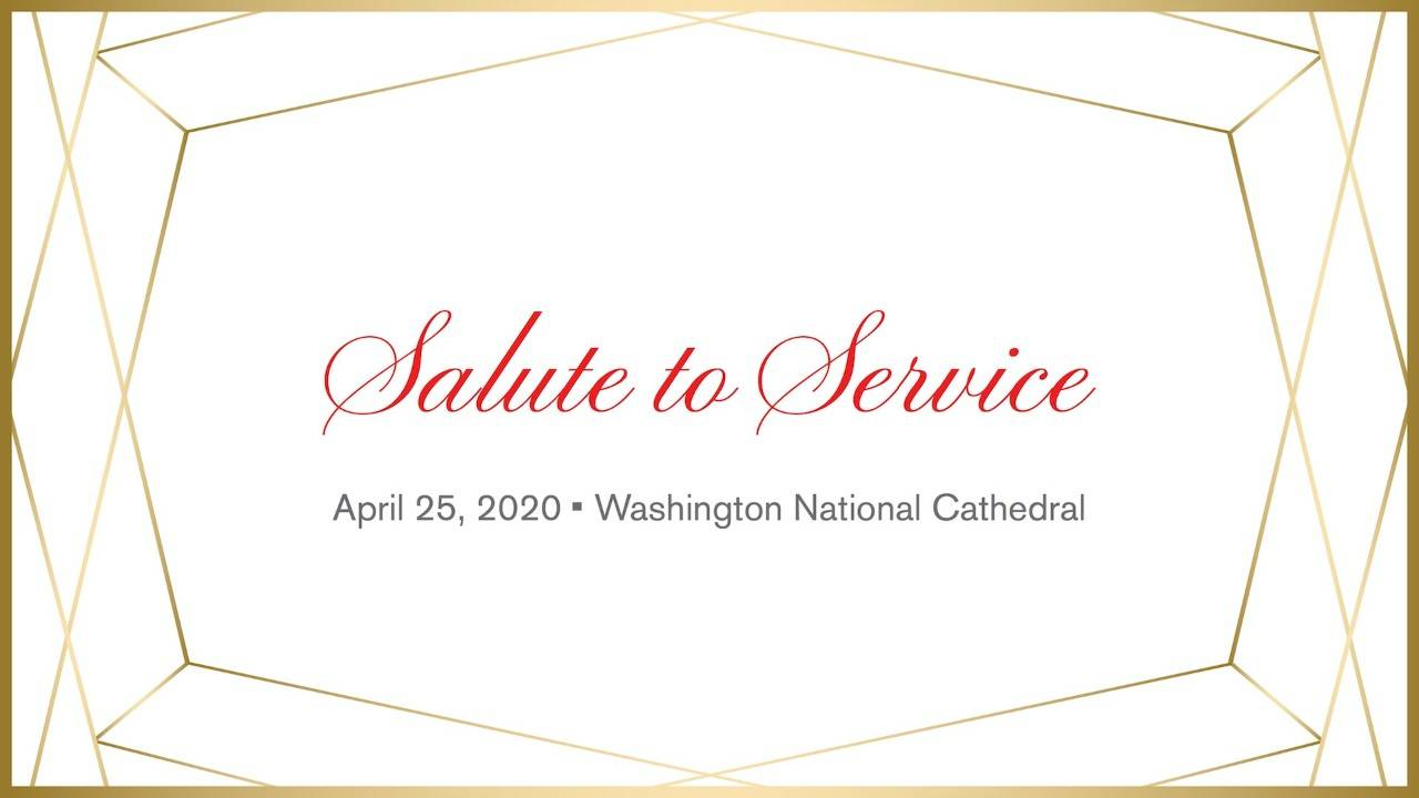 Text header Salute to Service event with gold geometric lines