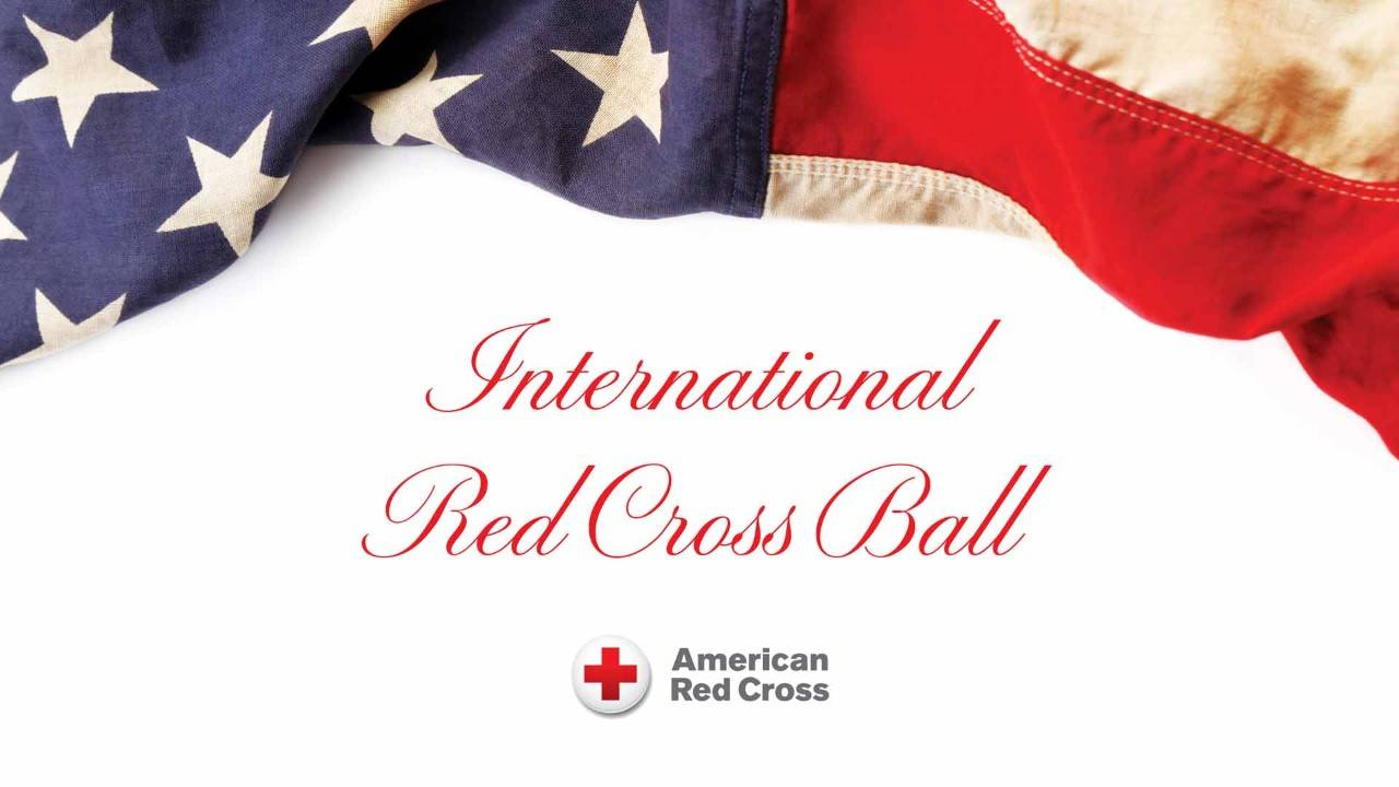 american flag with text beneath international red cross ball