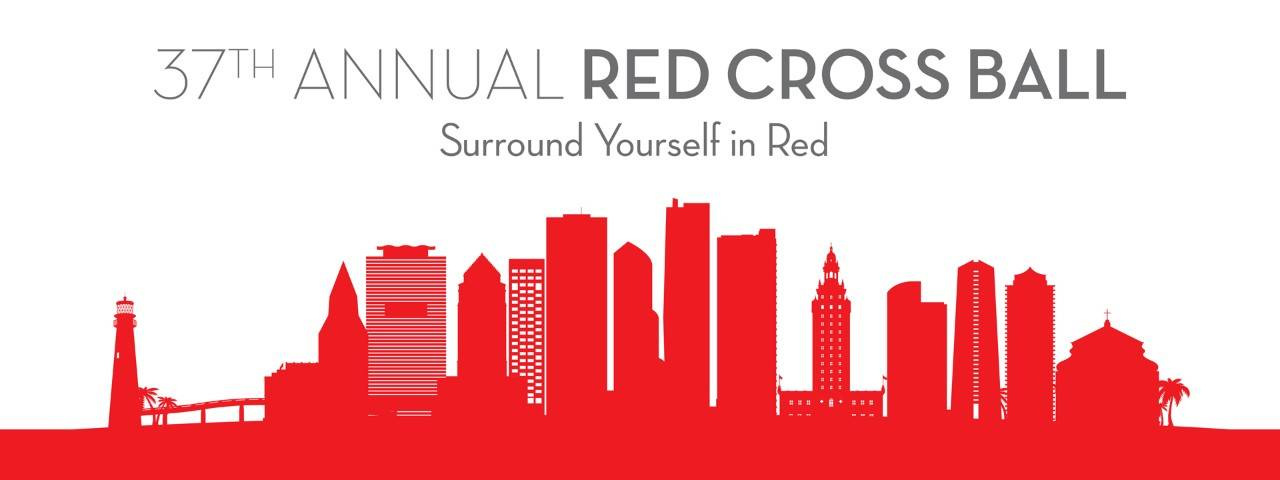 37th Annual South Florida Red Cross Ball header banner with red skyline graphic