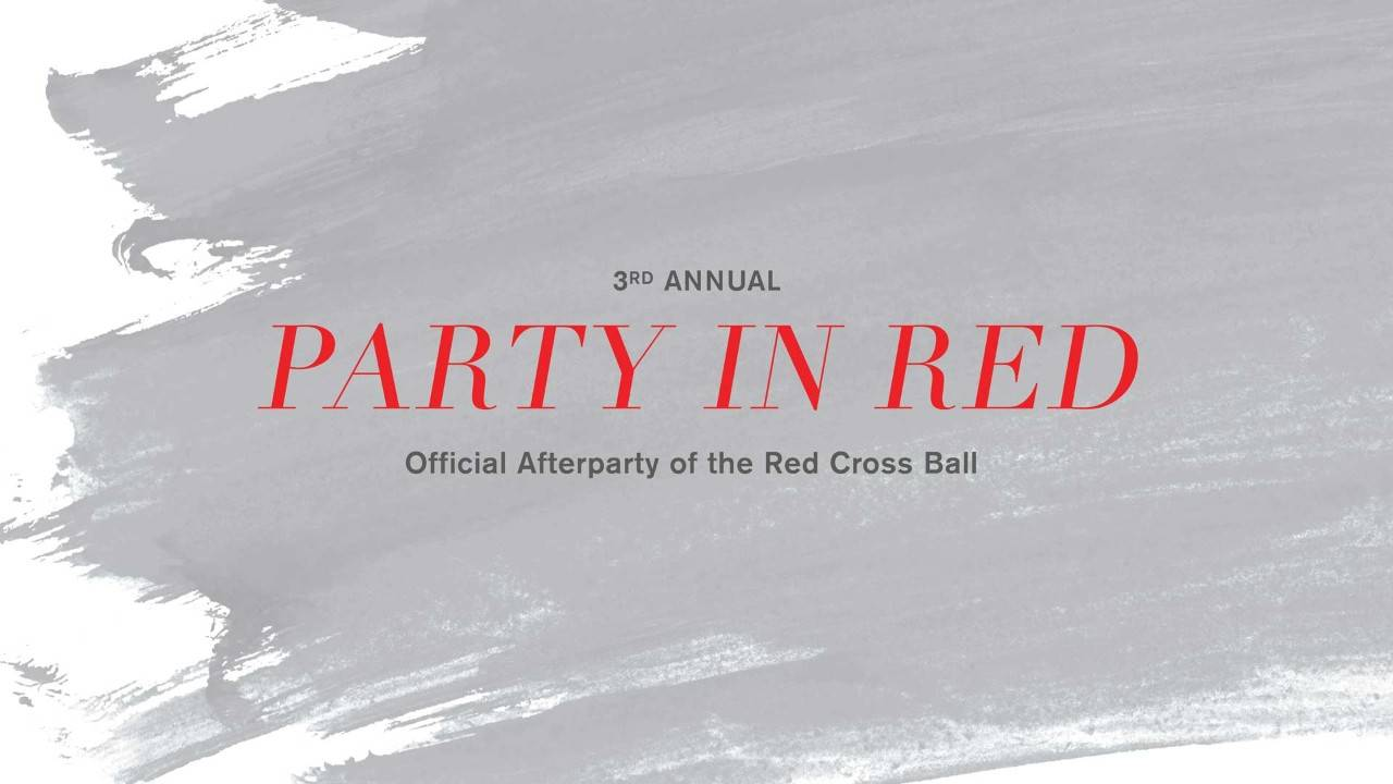 Header image for Party in Red featuring a design that looks like a smear of red paint