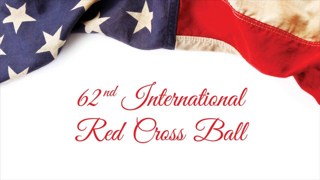 American Flag with Text Beneath announcing 62nd International Red Cross Ball