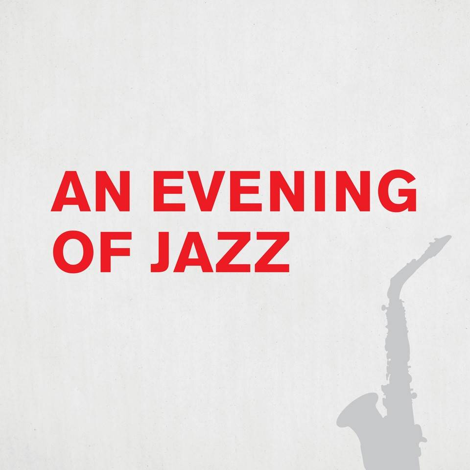 An Evening of Jazz page header with gray silhouette of a saxaphone