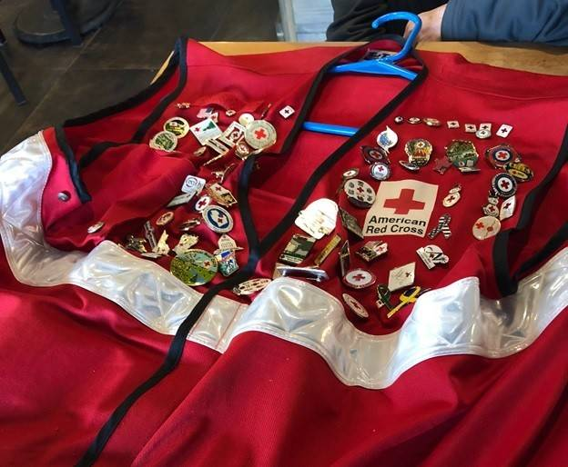 Volunteer Jerry Walker's Red Cross vest