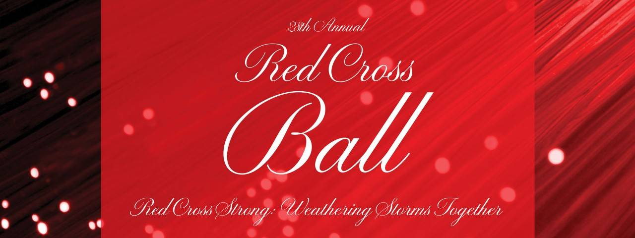 28th Annual Red Cross Ball title with abstract red design