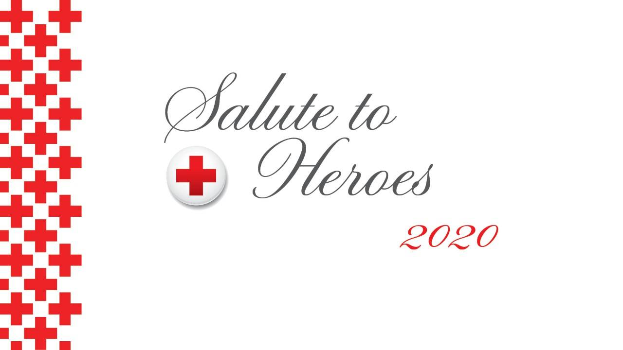 Graphic banner with red Red Cross logos