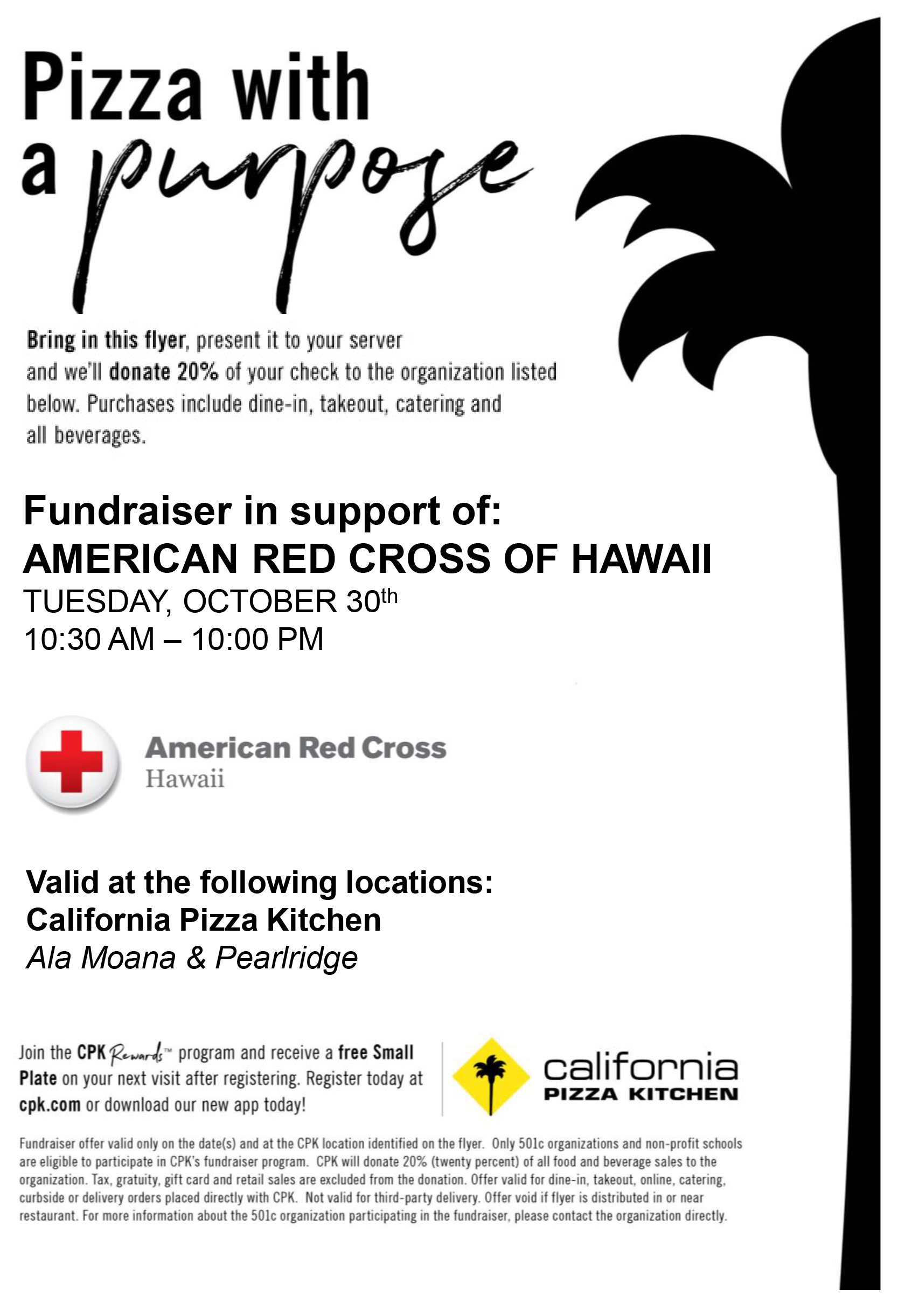 Aiea High School Red Cross Club California Pizza Kitchen Fundraiser