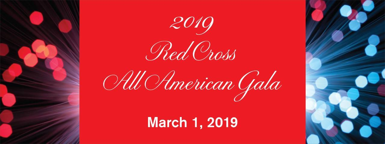 Red Cross All American Gala graphic banner with abstract red, white and blue pattern