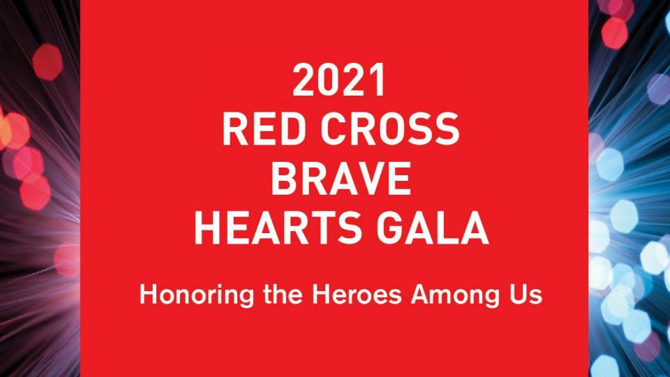 Wisconsin Red Cross Brave Hearts web page banner with red and silver balls on a white background