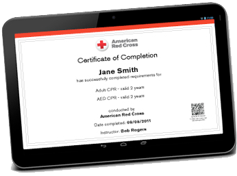 Red Cross certification of completion on a tablet