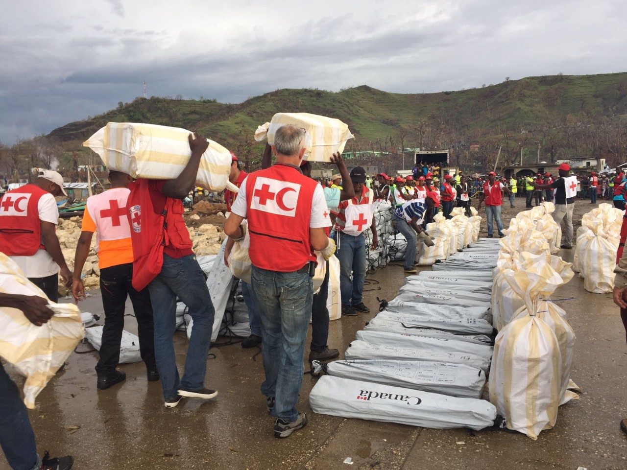 Red Cross volunteers distribute supplies to people affected by earthquake in Haiti
