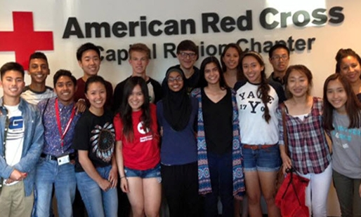 Red Cross youth council poses at their local chapter