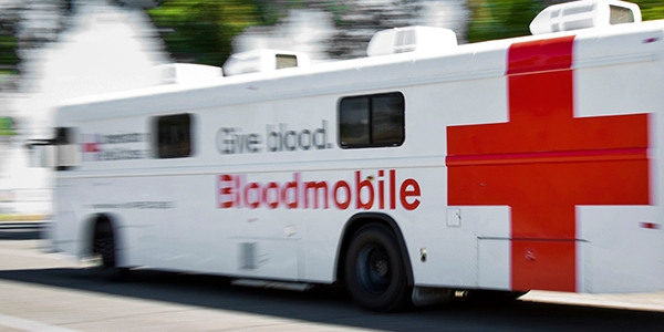 American Red Cross Blood mobile.