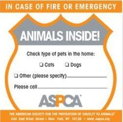 ASPCA pet safety sticker