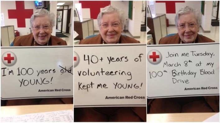 100 year old volunteer Blanche Baudhuin