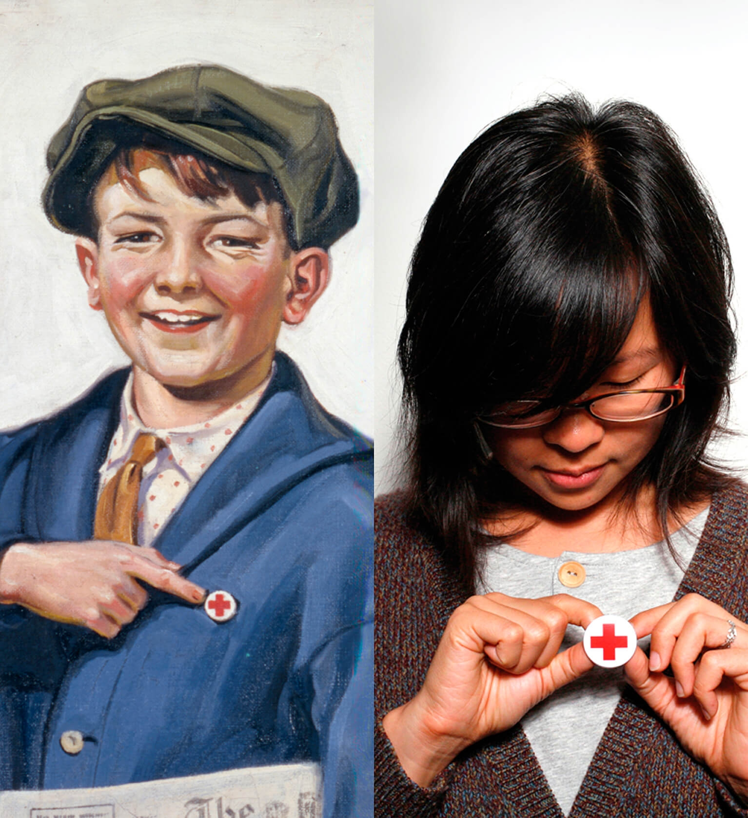 people wear red cross buttons