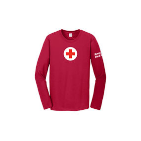 100% Cotton Classic Long Sleeve Tee Shirt with American Red Cross logo