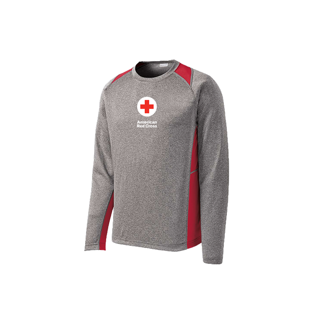 Performance long sleeve Colorblock tee shirt with American Red Cross logo