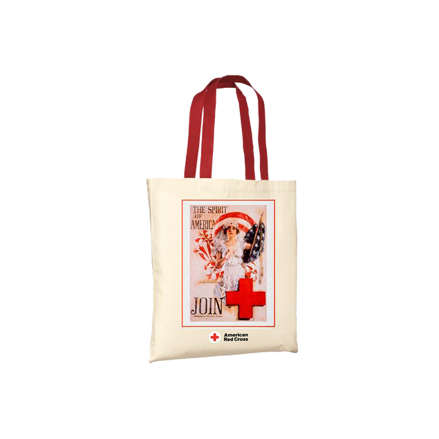 Natural tote/red handles with Vintage SPIRIT OF AMERICA poster