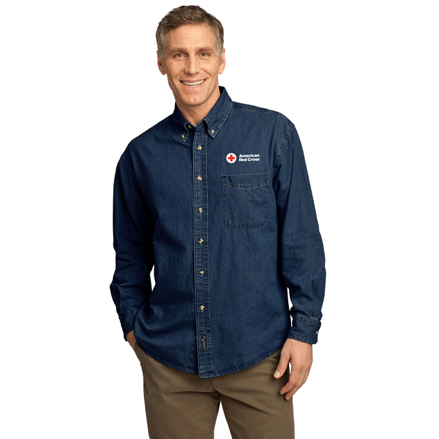 Men's Port & Company Long Sleeve Value Denim Shirt