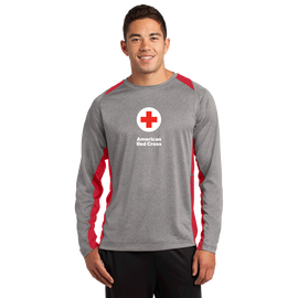 Unisex Performance Long Sleeve Colorblock T-Shirt with American Red Cross Logo