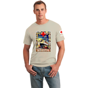 Unisex T-Shirt with American Junior Red Cross Boat Vintage Print