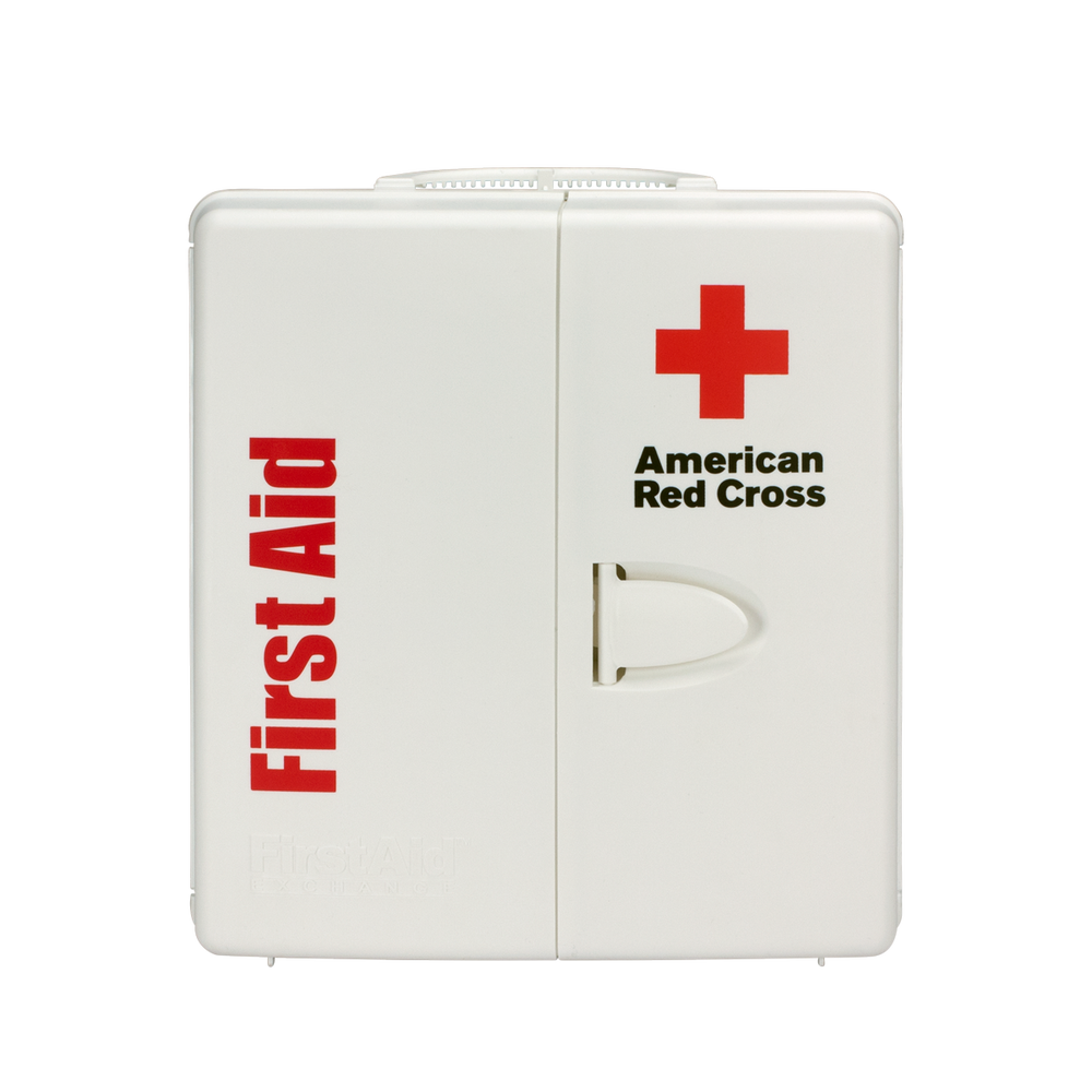 large workplace first aid kit with plastic cabinet red cross store. Black Bedroom Furniture Sets. Home Design Ideas