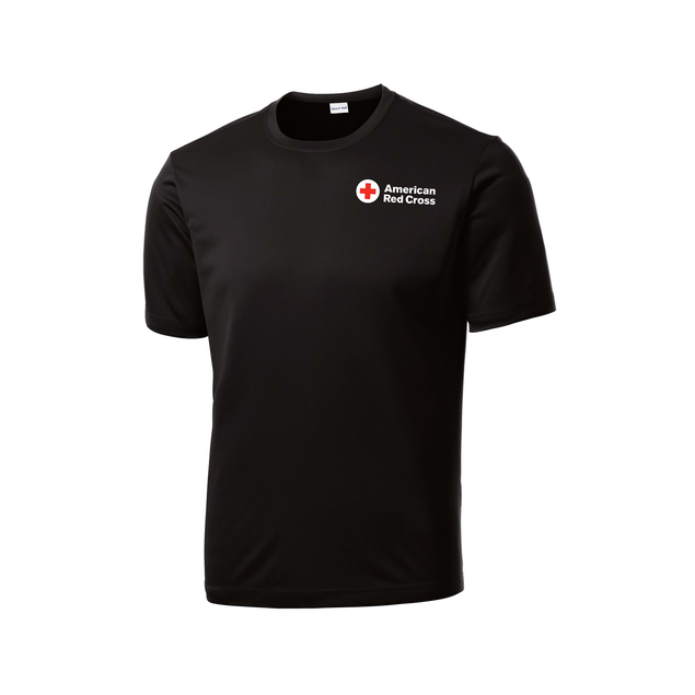 Performance short sleeve tee shirt with American Red Cross logo