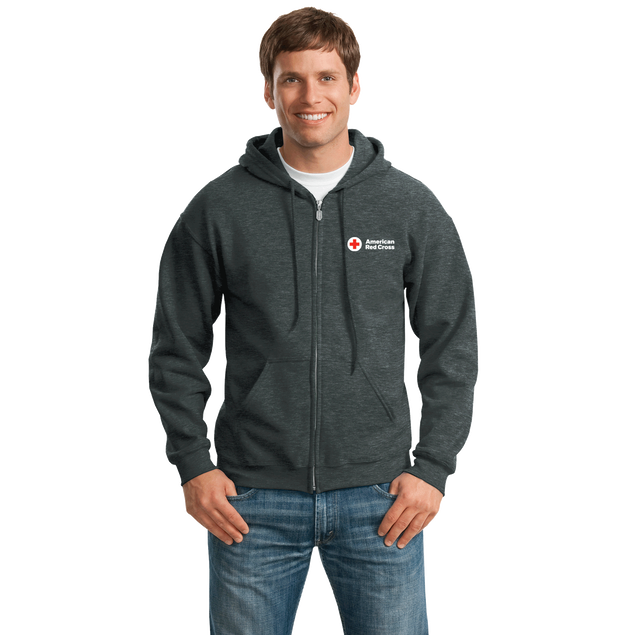 Unisex Zip Up Hoodie with American Red Cross Logo